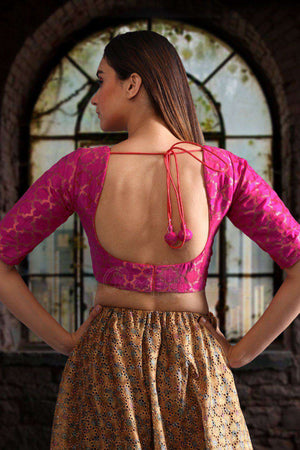 Back Open Chanderi Blouse Blouse Roopkatha - A Story of Art