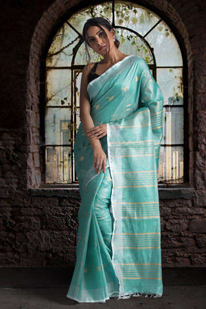 Light Blue Dualtone Tissue Linen Saree With Woven Designs Earthen Collection Roopkatha - A Story of Art