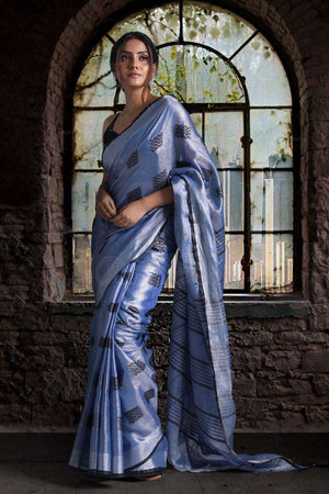 Blue Dualtone Tissue Linen Saree With Woven Butta Earthen Collection Roopkatha - A Story of Art