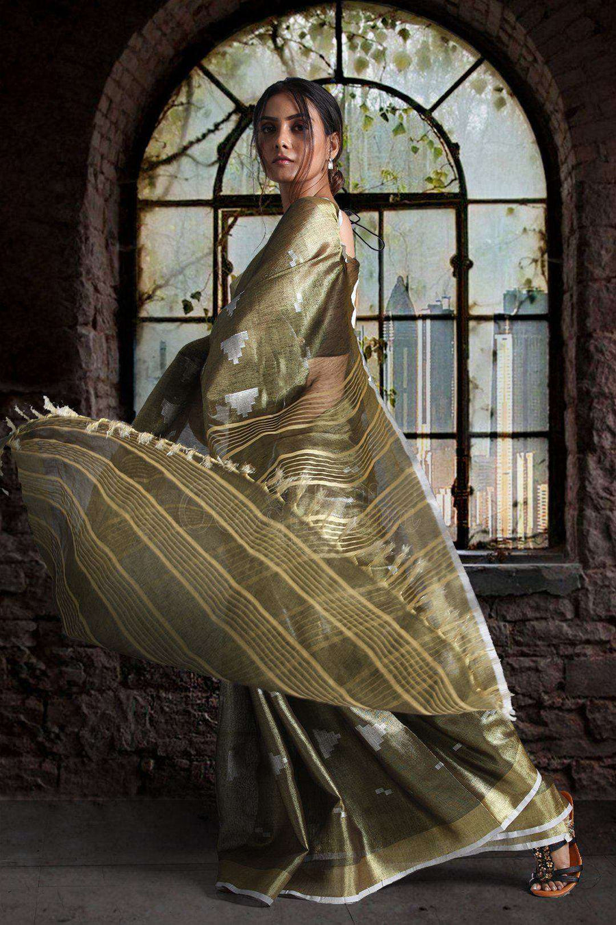 Metallic Green Dualtone Tissue Linen Saree With Woven Designs Earthen Collection Roopkatha - A Story of Art