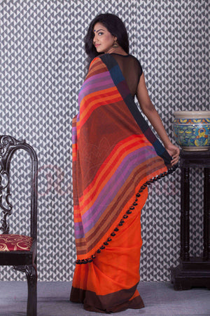 Orange Organic Cotton Handloom Saree With Plain Border