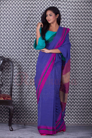 Indigo Blue Organic Handloom Saree With Pompom & Dual Border Cotton Threads Of India Roopkatha - A Story of Art