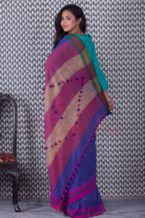 Indigo Blue Organic Handloom Saree With Pompom & Dual Border