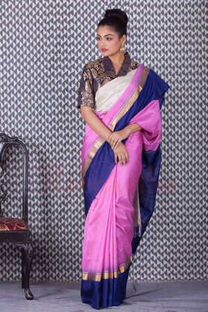 Pink Handloom Silk Saree With Wide Border Kriti Classics Roopkatha - A Story of Art
