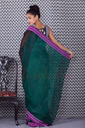 Black Linen Saree With Purple Border Earthen Collection Roopkatha - A Story of Art