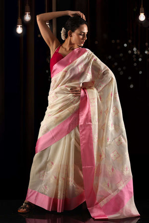 Off-White Blended Cotton Pink Embroidered Saree