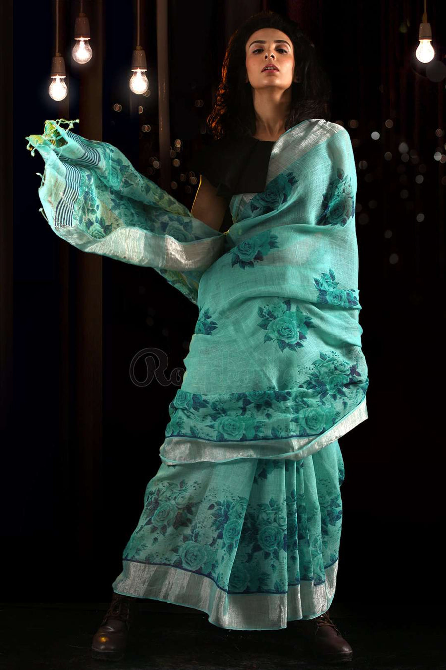 Blue Linen Saree With Floral Designs