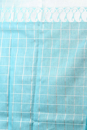 Light Blue Art Kora Silk With Checkered Zari Designs