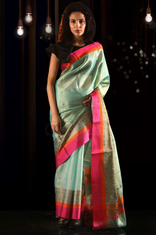 Ice Blue Cotton Tissue Saree With Dual Borders