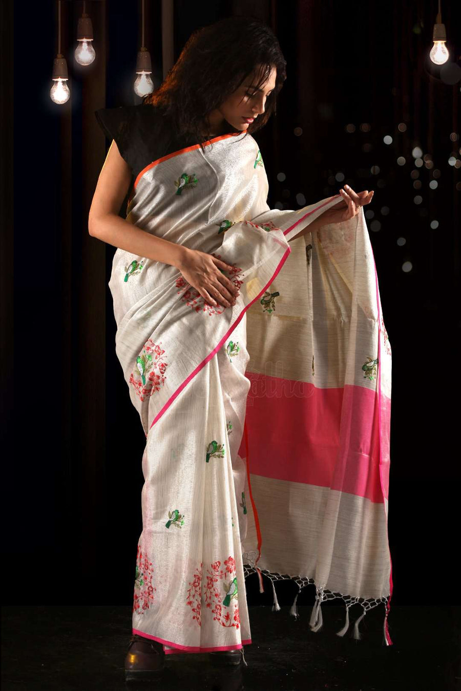 Off White Cotton Tissue Saree With Mughal Green Bird Embroidery