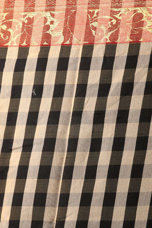 Black Checkered Chanderi Cotton Saree With Zari Designs