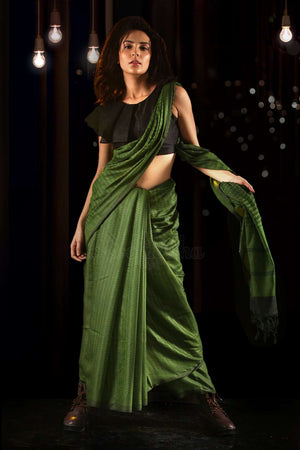 Sap Green Blended Cotton Saree With Woven Designs