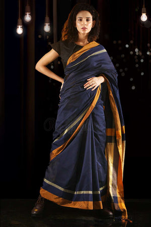 Blue Checkered Blended Cotton Saree With Zari
