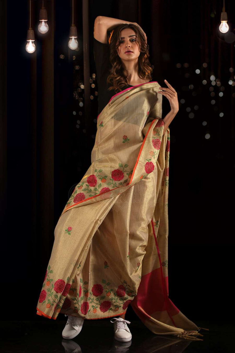 Cream Cotton Tissue Saree With Floral Embroidery