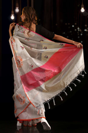 Grey Cotton Tissue Saree With Bird Mughal Embroidery