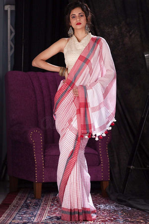 Red & White Cotton Handloom Saree With Checkered Design