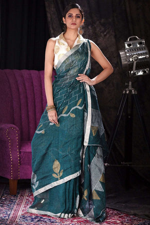 Dark Green Linen Saree With Woven Pallu Earthen Collection Roopkatha - A Story of Art
