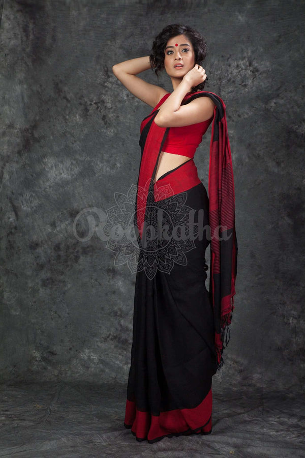 Black Organic Linen Saree With Red Border