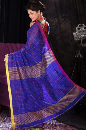 Blue Blended Cotton Saree With Thread Stitching