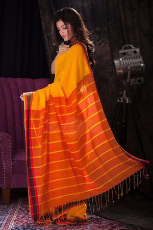 Yellow Pure Cotton Saree With Orange Striped Pallu Cotton Threads Of India Roopkatha - A Story of Art