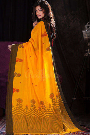 Yellow Cotton Handloom Saree With Floral Designs