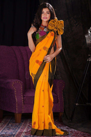 Yellow Cotton Handloom Saree With Floral Designs Cotton Threads Of India Roopkatha - A Story of Art