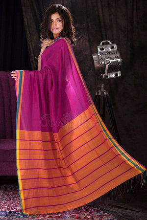 Pink Pure Cotton Saree With Orange Striped Pallu