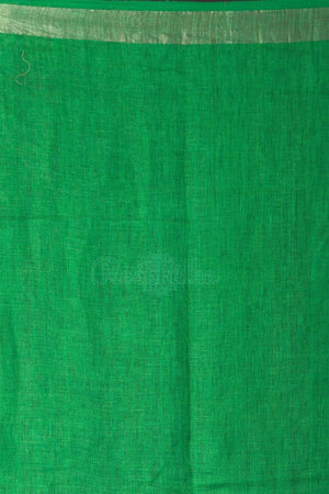 Green Organic Linen Saree With Ghicha Pallu Earthen Collection Roopkatha - A Story of Art