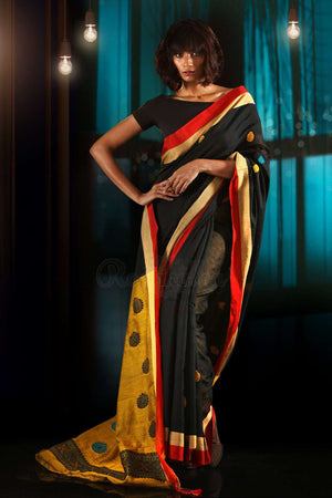 Black Blended Cotton Saree With Mustard Pallu & Woven Motifs