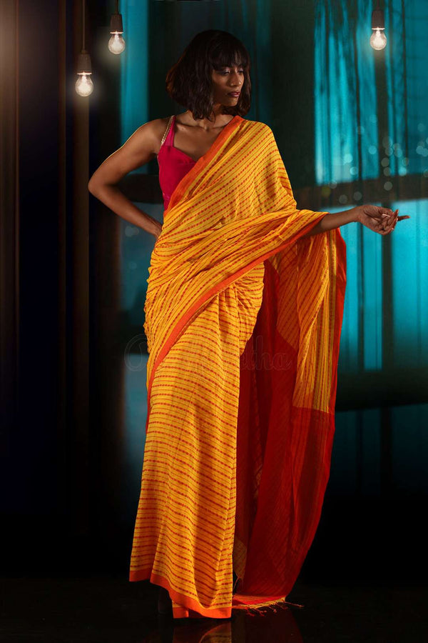 Yellow & Red Pure Cotton Saree With Woven Designs