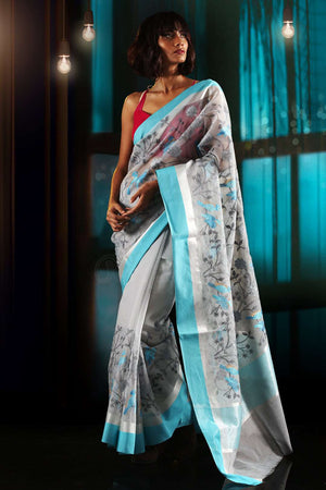 Grey Kora Saree With Blue Mughal Embroidery