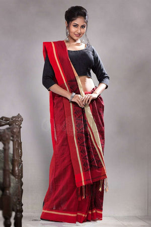 Dark Red Blended Cotton Saree With Patli-Pallu Design Akasha Roopkatha - A Story of Art