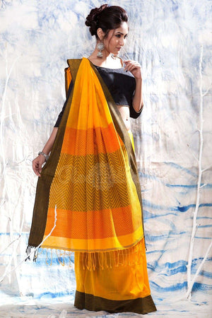 Yellow Pure Cotton Handloom Saree With Geometric Designs Cotton Threads Of India Roopkatha - A Story of Art
