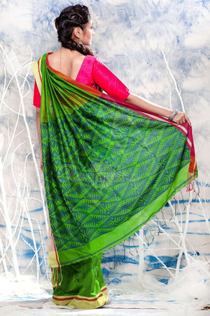Green Blended Cotton Saree With Patli-Pallu Design