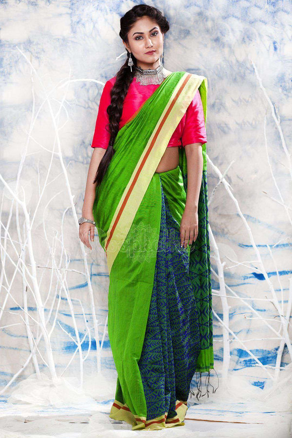 Green Blended Cotton Saree With Patli-Pallu Design Akasha Roopkatha - A Story of Art