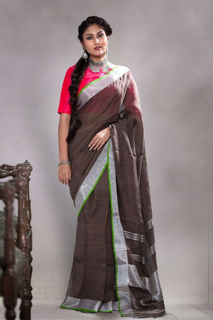 Dark Brown Linen Saree With Zari Border Earthen Collection Roopkatha - A Story of Art