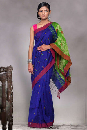 Blue Blended Cotton Saree With Green Pallu Akasha Roopkatha - A Story of Art