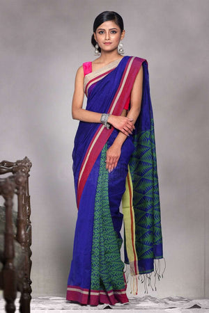 Blue Blended Cotton Saree With Green Patli-Pallu Design