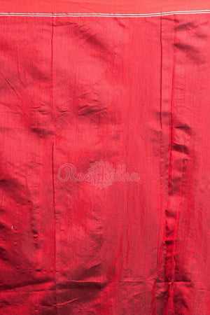 Yellow Blended Cotton Saree With Bright Red Woven Pallu Akasha Roopkatha - A Story of Art