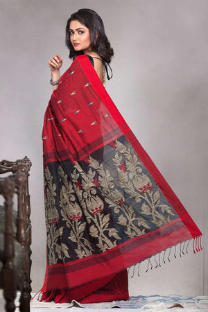 Scarlet Red Blended Cotton Saree With Black Woven Pallu Akasha Roopkatha - A Story of Art
