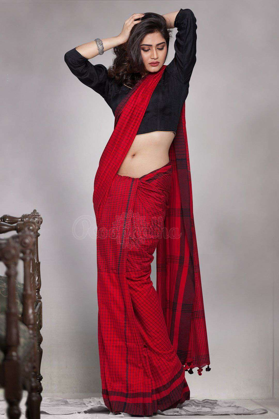 Red Cotton Handloom Saree With Checkered Designs