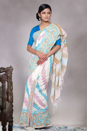 White Organic Cotton Saree With Abstract Hand Block Print