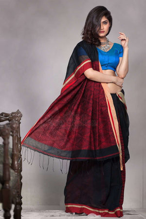 Black Blended Cotton Saree With Patli-Pallu Design Akasha Roopkatha - A Story of Art