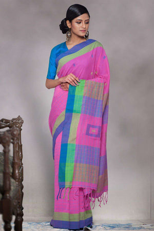 Baby Pink Pure Cotton Handloom Saree With Woven Pallu Cotton Threads Of India Roopkatha - A Story of Art