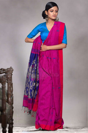 Pink Blended Cotton Saree With Blue Woven Pallu Akasha Roopkatha - A Story of Art