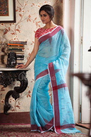 Sky Blue Linen Saree With Red Border Earthen Collection Roopkatha - A Story of Art