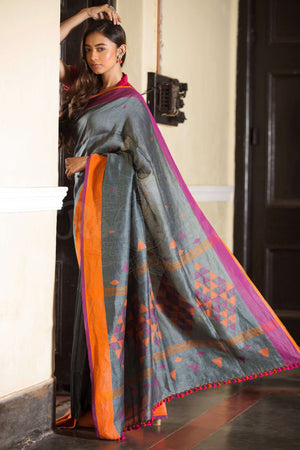 Grey Organic Linen Saree With Geometric Pallu