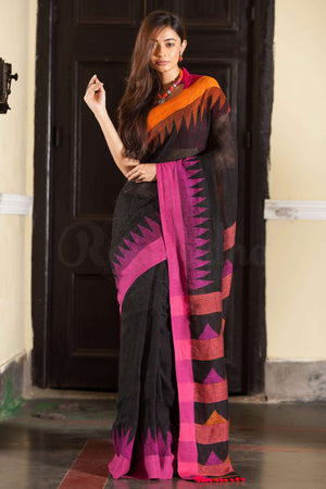 Black Organic Linen Saree With Dual Tone Temple Border