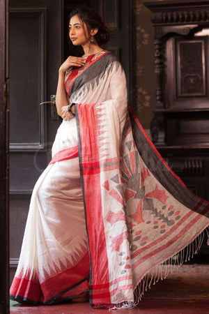 White Linen Jamdani Saree With Dual Tone Border Earthen Collection Roopkatha - A Story of Art
