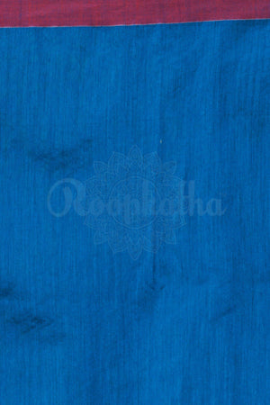 Blue Blended Cotton Handloom Saree With Maroon Border